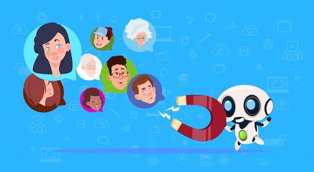 Roboter halten magnet mix race chat blasen künstliche intelligenz unterstützung virtuelle unterstützung von website oder mobilen anwendungen ziehen konzept