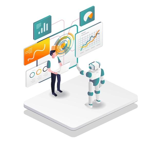 Roboter helfen menschen, digitales marketing und seo-optimierung zu transformieren