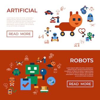 Roboter-ikonen-sammlung der maschinenautomatisierung und der künstlichen intelligenz