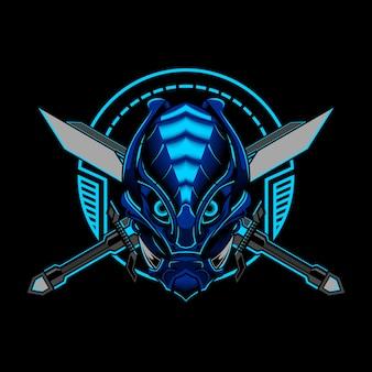 Roboter-illustration des ronin samurai evil vector