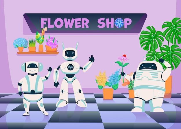Roboter im blumenpflanzengeschäft. niedliche digitale cyborgs maskottchen