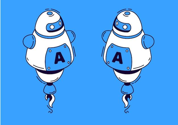 Roboter im isometrischen stil auf blauem hintergrund