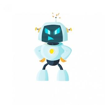 Roboter ist wütend, emotionsaufkleber. künstliche intelligenz, zukunft, maschinelles lernen.