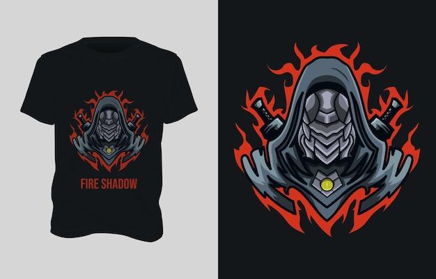 Roboter kämpfer illustration t-shirt design