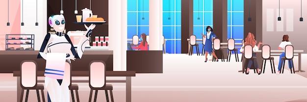 Roboter-kellner, der besuchern im modernen café-interieur des künstlichen intelligenz-technologiekonzepts essen serviert