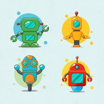 Roboter maskottchen design set