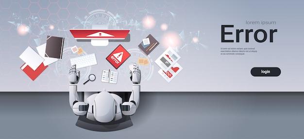 Roboter mit digitalen geräten fehler web-vorlage