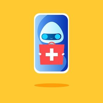 Roboter mit einem koffer tabletten in den händen auf dem telefonbildschirm