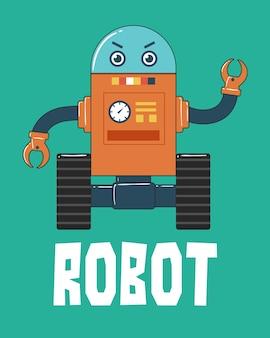 Roboter mit rädern illustration auf grünem hintergrund