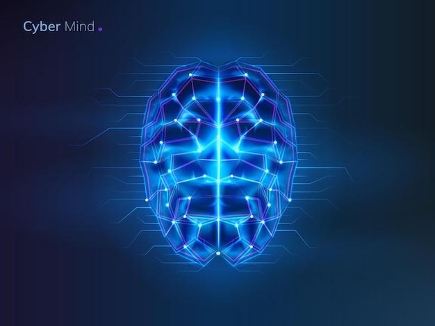 Roboter oder cyber-gehirn menschlicher verstand mit schaltung
