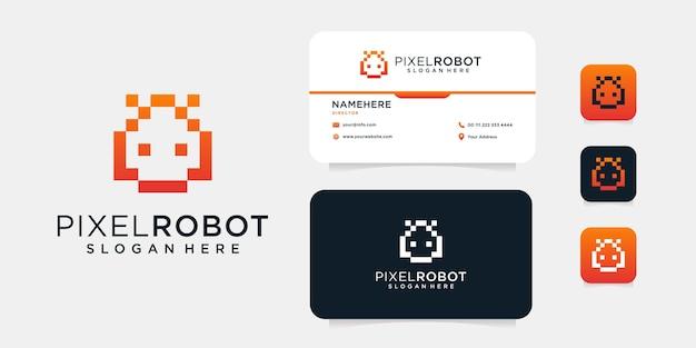 Roboter-pixel-logo-design mit visitenkartenschablone. das logo kann für ikonen-, marken-, inspirations- und technologieunternehmen mit geschäftszweck verwendet werden