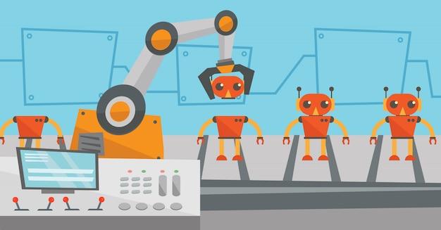 Roboter-produktionslinie für die montage von spielzeug.