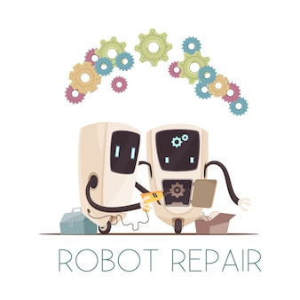Roboter reparieren cartoon-komposition