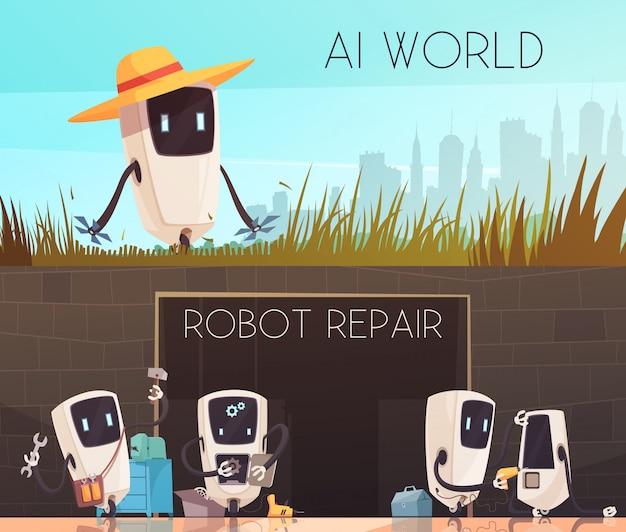Roboter reparieren horizontale banner set