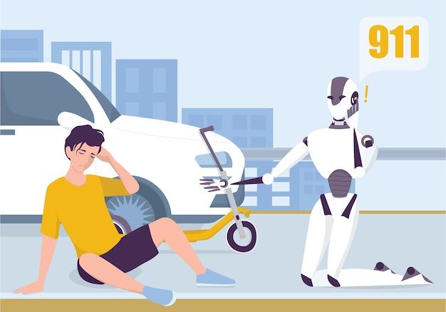 Roboter ruft zum krankenwagen, um einem mann zu helfen. künstliche intelligenz und futuristische medizinische behandlung. inländischer persönlicher roboter für personenhilfekonzept.