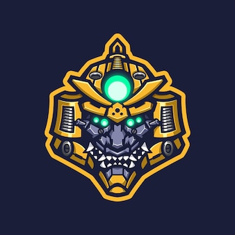 Roboter samurai logo maskottchen