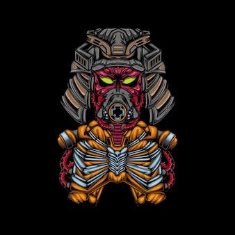 Roboter samurai schwert illustration