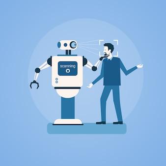 Roboter-scanmann-gesicht-biometrisches identifizierungs-zugangskontrolltechnologie-erkennungssystem-konzept