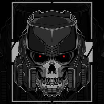 Roboter-schädel-kopf-illustration