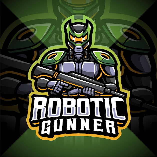 Roboter schütze esport maskottchen logo design