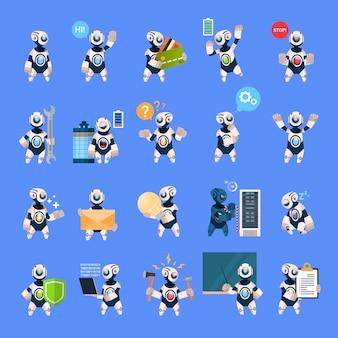 Roboter stellten unterschiedliches cyborg-sammlungs-konzept-moderne technologie der künstlichen intelligenz ein