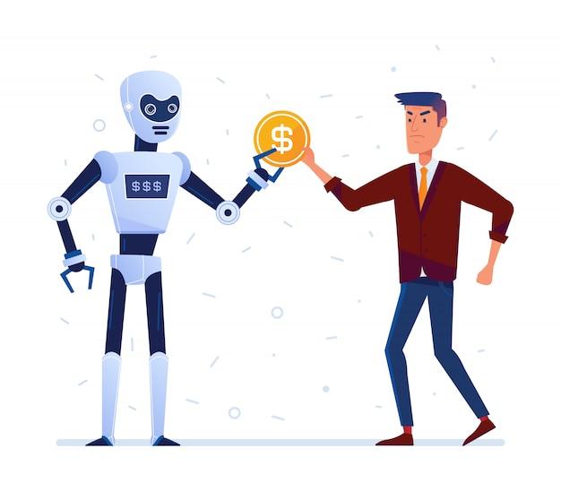 Roboter stiehlt geld vom traurigen mann