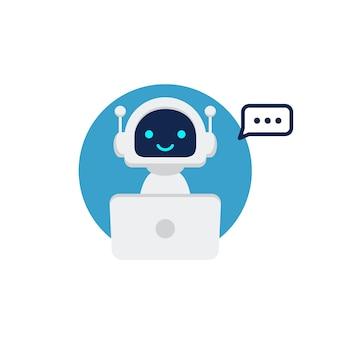 Roboter-symbol. chat-bot-zeichen für support-service-konzept. chatbot-charakter flacher stil.