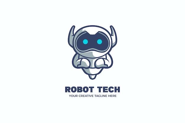 Roboter-technologie-karikatur-maskottchen-logo-vorlage