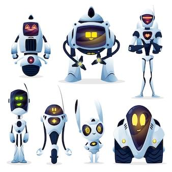 Roboter und android bots, zeichentrickfiguren