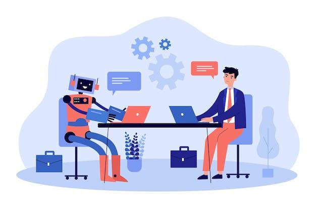 Roboter und geschäftsmann arbeiten zusammen an computern