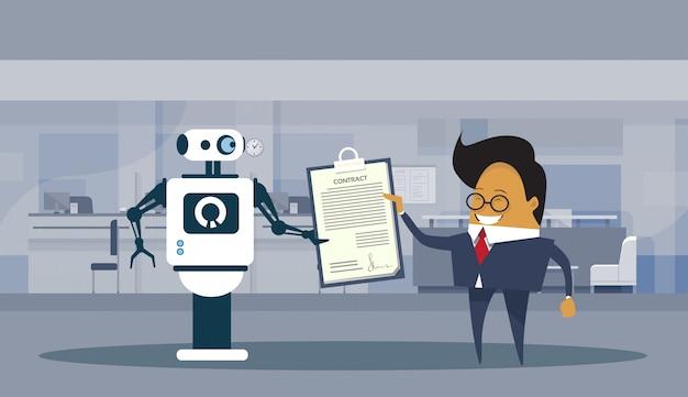Roboter und geschäftsmann unterzeichnen vertragstechnologie-vereinbarung und zusammenarbeits-konzept