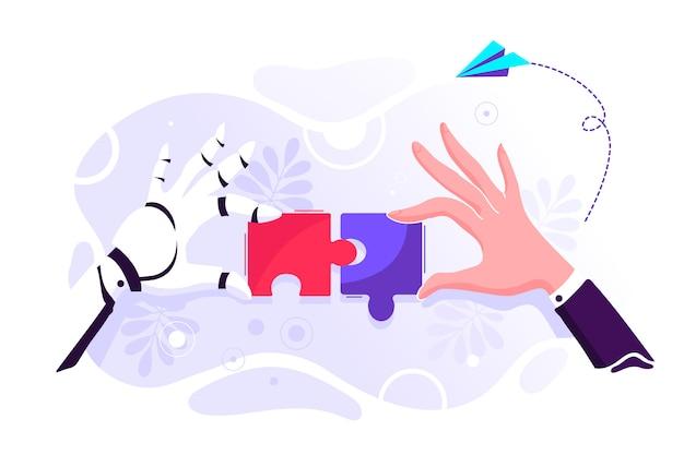Roboter- und geschäftsmannhand, die puzzle hält