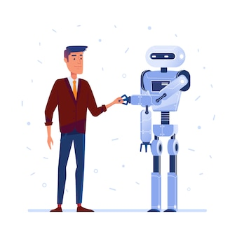 Roboter und mensch beim händeschütteln.