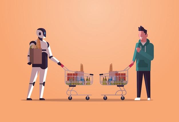 Roboter und mensch, die wagenwagen voll des robotercharakters der lebensmittel gegen den mann steht zusammen, kaufend das technologiekonzept der künstlichen intelligenz flach in voller länge horizontal