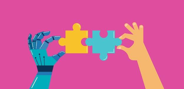 Roboter- und menschenhände mit puzzle, hintergrund und banner