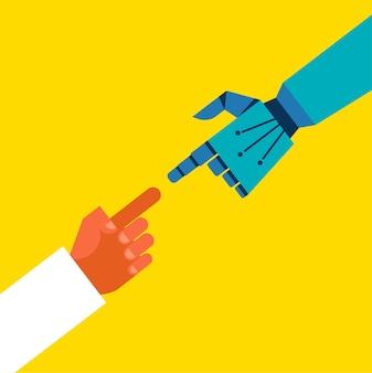 Roboter- und menschenhandverbindung, kommunikationskonzeptillustration