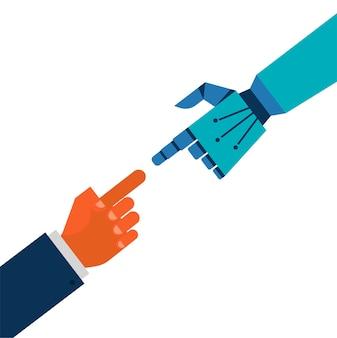 Roboter- und menschenhandverbindung