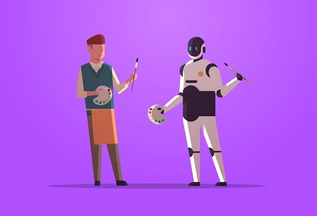 Roboter- und menschenmaler, die malerpinsel- und palettenrobotercharakter gegen den mann zusammenhalten, der das technologiekonzept der künstlichen intelligenz flach in voller länge horizontal zusammenhält