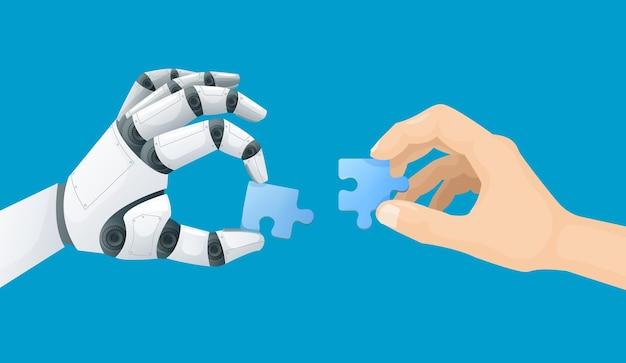 Roboter und menschliche hand mit puzzle