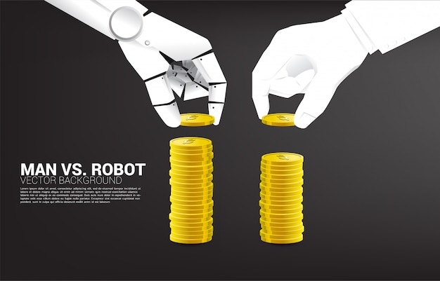 Roboter und menschliche hand stapeln die münze. konzept der geschäftsunterbrechung und ai industrie