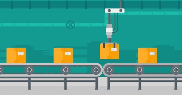 Roboter-verpackungsförderband.