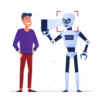 Roboter verwendet gesichtsverriegelung auf einem smartphone
