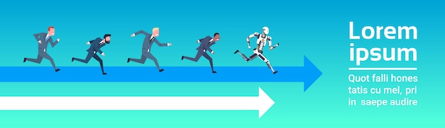 Roboter-wettbewerb mit menschlichen angestellten, die konzept der künstlichen intelligenz und des zukünftigen automa laufen lassen