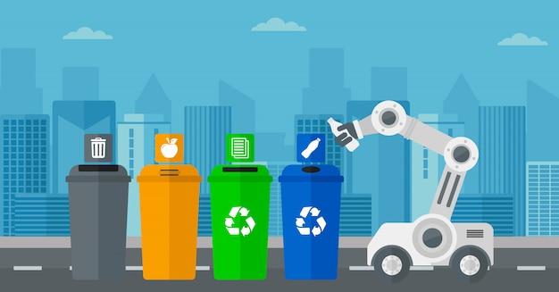Roboter wirft plastikflasche weg.