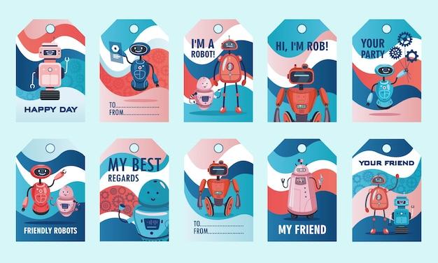 Roboter zeigen tags gesetzt. humanoide, cyborgs, vektorillustrationen intelligenter maschinen mit text. robotikkonzept für etiketten, einladungskarten, postkartenentwurf