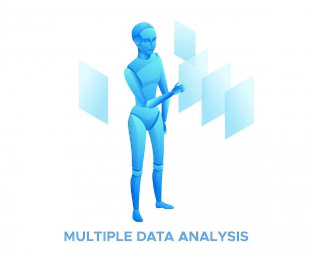 Roboteradministrator, der dokumente auswählt und dateien sortiert