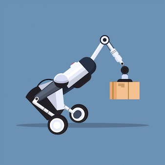 Roboterarbeiter laden pappkartons hi-tech smart factory roboter künstliche intelligenz logistik automatisierungstechnik konzept
