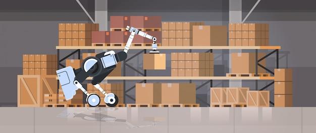 Roboterarbeiter laden pappkartons hi-tech smart factory warehouse innenlogistik automatisierungstechnik konzept moderne roboter zeichentrickfigur flach horizontal