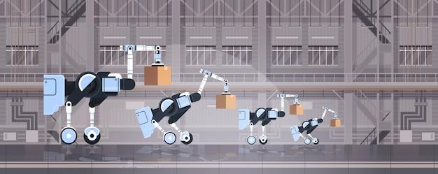 Roboterarbeiter laden pappkartons hi-tech smart factory warehouse innenlogistik automatisierungstechnik konzept moderne roboter zeichentrickfiguren flach horizontal