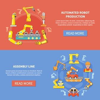 Roboterarm-banner-set